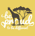 vintage poster with giraffe and tree silhouettes vector image