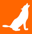 silhouette of the wolf white icon vector image