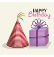 happy birthday party invitation with gift vector image