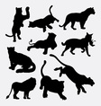 Tiger and lion wild animal silhouette vector image