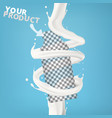 3d milk or cream spiral jet twisted in the air vector image