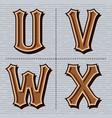 alphabet western letters vintage design u v w vector image