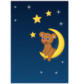 Baby bear sitting on the moon vector image