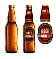 beer-mock-up-set golden bottle without a label vector image
