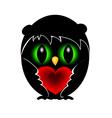Black owl in love vector image vector image
