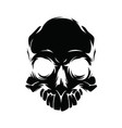 black silhouette of a skull on a white background vector image vector image