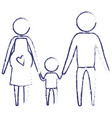 Blurred blue silhouette of pictogram parents with