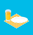 breakfast template glass juice and empty plate vector image