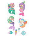 cartoon colorful mermaids set with fish and vector image