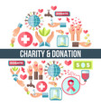 charity and donation promo round emblem composed vector image