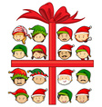 christmas theme with santa and elves vector image vector image