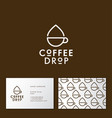 coffee drop cafe linear flat icon vector image vector image