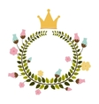 colorful arch of leaves with flowers and crown vector image vector image