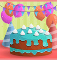 colorful birthday cake concept background cartoon vector image