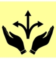 Concept icon with hands vector image vector image