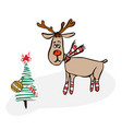 cute cartoon christmas reindeer vector image