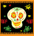 day of the dead sugar skull with floral ornament vector image vector image