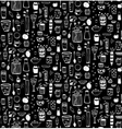Dishware Doodles White on Black Sketchy Seamless vector image vector image