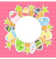 Eastern carrots and eggs pattern on a pink vector image vector image