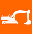 excavator white icon vector image vector image