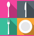 four backgrounds with dining items in flat vector image vector image