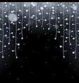 glowing christmas lights garland and falling snow vector image vector image