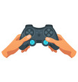 hand holding wireless game controller vector image
