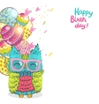 Happy Birthday greeting background with an owl vector image vector image