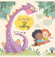 happy children with funny monster adventures vector image