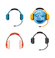 headset icon set cartoon style vector image