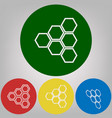 honeycomb sign 4 white styles of icon at vector image vector image