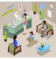 Hospital Hall Interior with Nurse and Patients vector image