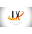lx l x letter logo with fire flames design and vector image vector image