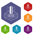 mexico cactus icons hexahedron vector image vector image
