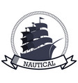 nautical frame with ship vector image vector image