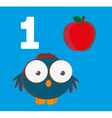 Number 1 - Sparrow with one red apple vector image vector image