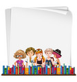 paper template with hipsters and books vector image vector image