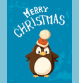 penguin in santa hat with big bubo christmas card vector image vector image