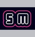 pink white blue alphabet combination letter sm s vector image vector image