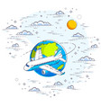 plane airliner with earth planet in sky vector image vector image