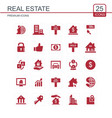 real estate icons set red vector image