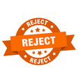reject ribbon reject round orange sign reject vector image vector image