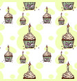seamless pattern with birthday cupcake with candle vector image