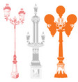 set of colorful street lanterns-9 vector image