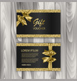 set of shiny gift voucher with realistic golden vector image