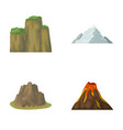 sheer cliffs a volcanic eruption a mountain with vector image