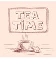 sketch cup tea vector image