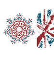 snowflake styled with Union Jack flag colors vector image vector image