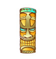tiki idol hawaiian wooden statue color vector image vector image