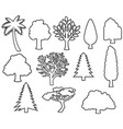 trees thin line icons vector image